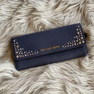 NWT Michael Kors studded leather wallet navy blue